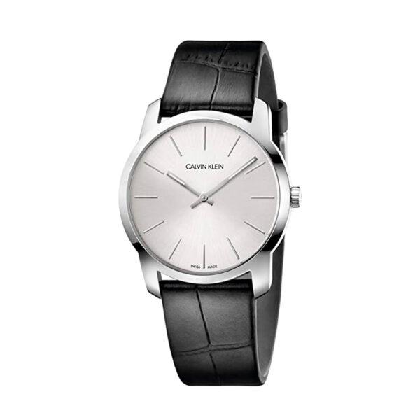 Reloj Calvin Klein City Hombre K2G221C6 Acero esfera blanca y correa piel negra