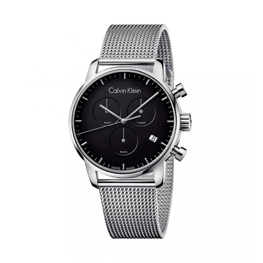 Reloj Calvin Klein City Hombre K2G27121 Acero con esfera negra cronógrafo y correa malla milanesa plata