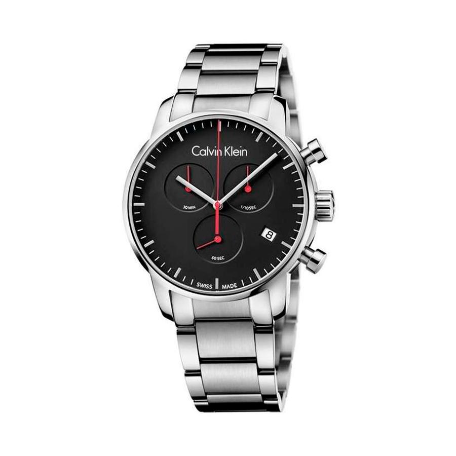 Reloj Calvin Klein City Hombre K2G27141 Acero esfera negra con detalle aguja roja y cronómetro con calendario