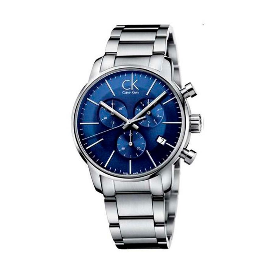 Reloj Calvin Klein City Hombre K2G2714N Acero esfera azul con cronógrafo agujas neón y calendario