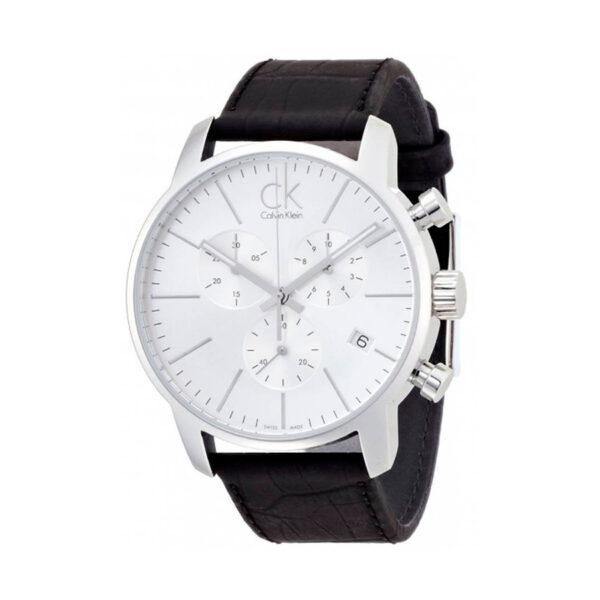 Reloj Calvin Klein City Hombre K2G271C6 Acero esfera blanca cronógrafo agujas neón calendario y correa piel negra