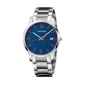 Reloj Calvin Klein City Hombre K2G2G147 Acero esfera azul con detalles rojo y calendario agujas neón
