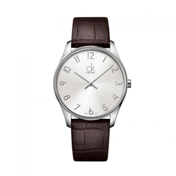 Reloj Calvin Klein Classic Hombre K4D211G6 Acero esfera plata y correa piel marrón