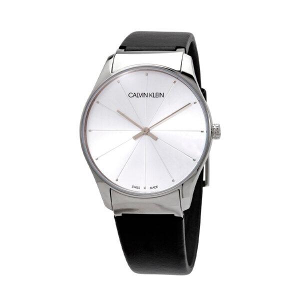 Reloj Calvin Klein Classic Mujer K4D211C6 Acero esfera plata con correa piel negra