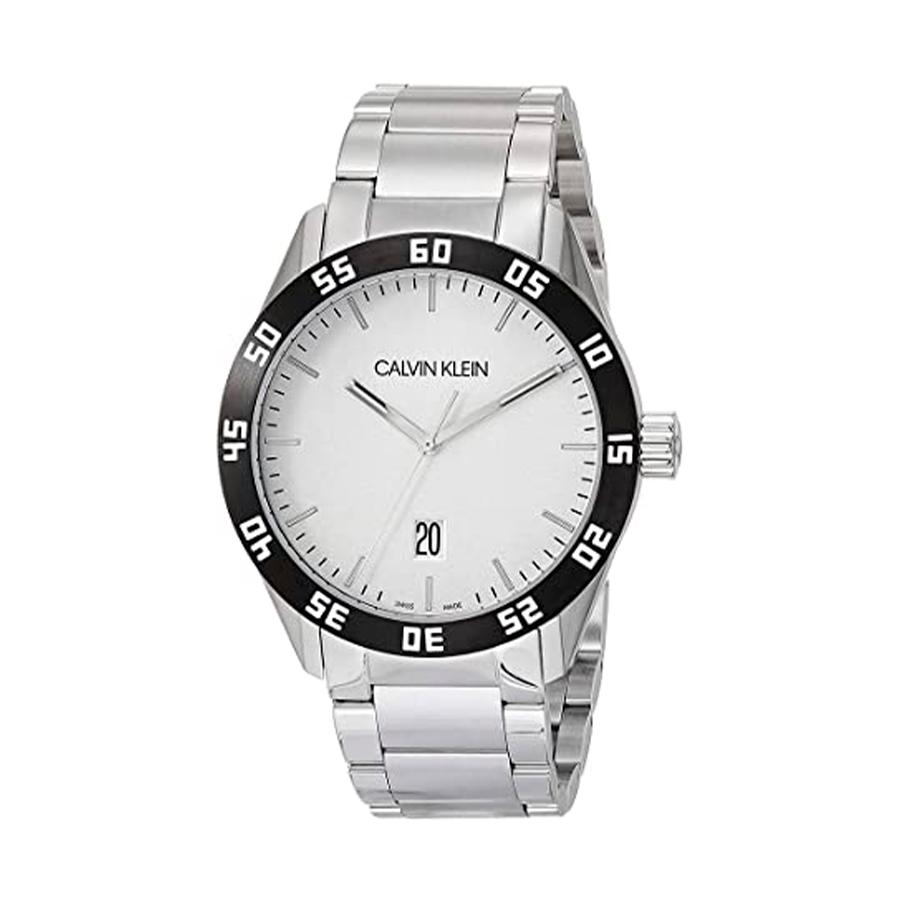 Reloj Calvin Klein Compete Hombre K9R31C46 Acero esfera blanca bisel negro y calendario correa acero