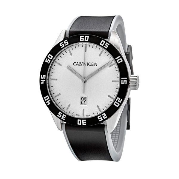 Reloj Calvin Klein Compete Hombre K9R31CD6 Acero con esfera blanca calendario y agujas neón