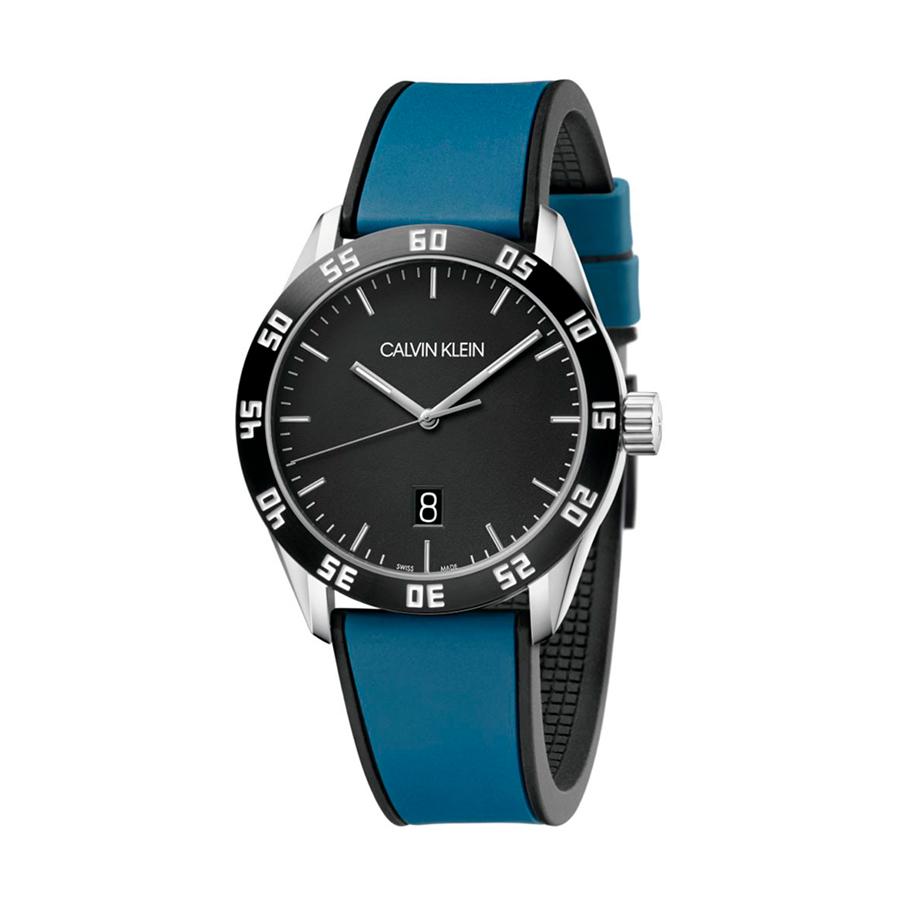 Reloj Calvin Klein Compete Hombre K9R31CV1 Acero esfera y bisel negro con correa caucho bicolor negro y azul
