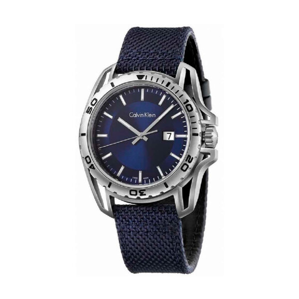 Reloj Calvin Klein Earth Hombre K5Y31UVN Acero esfera azul con calendario y agujas neón con correa nylon azul