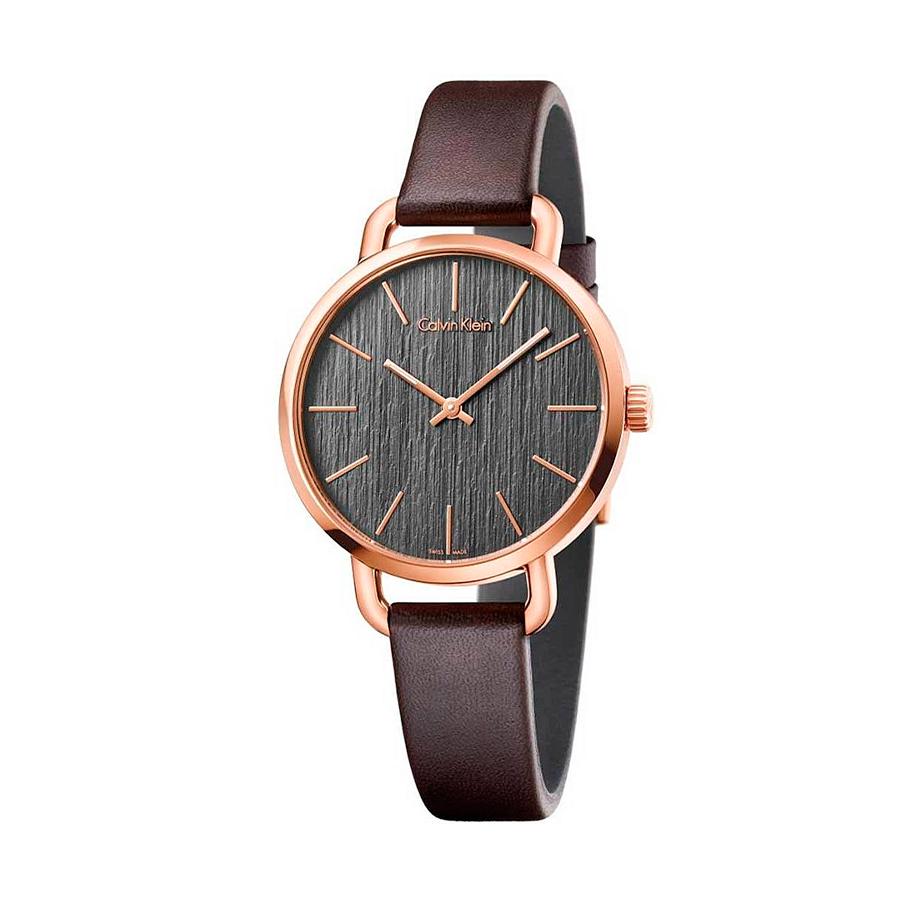 Reloj Calvin Klein Even Mujer K7B236G3 Acero rosado esfera marrón y correa piel marrón