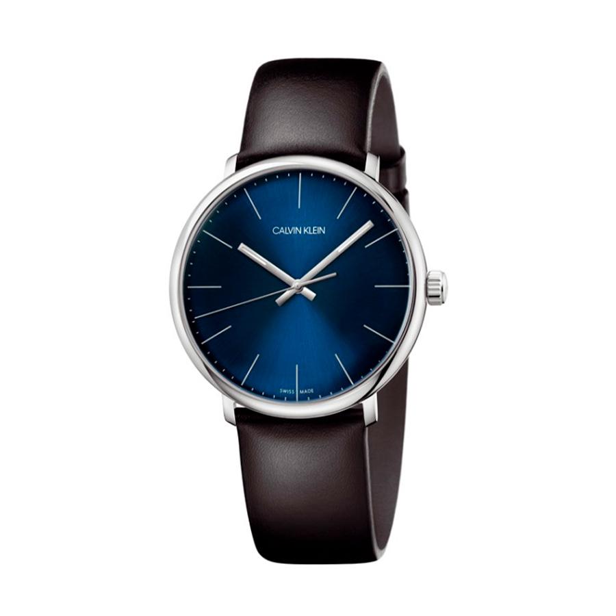 Reloj Calvin Klein High Noon Hombre K8M211CN Acero con esfera azul agujas neón y correa piel negra