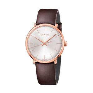 Reloj Calvin Klein High Noon Hombre K8M216G6 Acero rosado esfera blanca y correa marrón piel