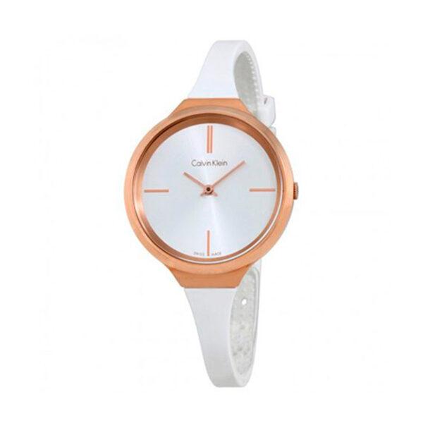 Reloj Calvin Klein Lively Mujer K4U236K6 Acero dorado con esfera blanca y correa blanca silicona
