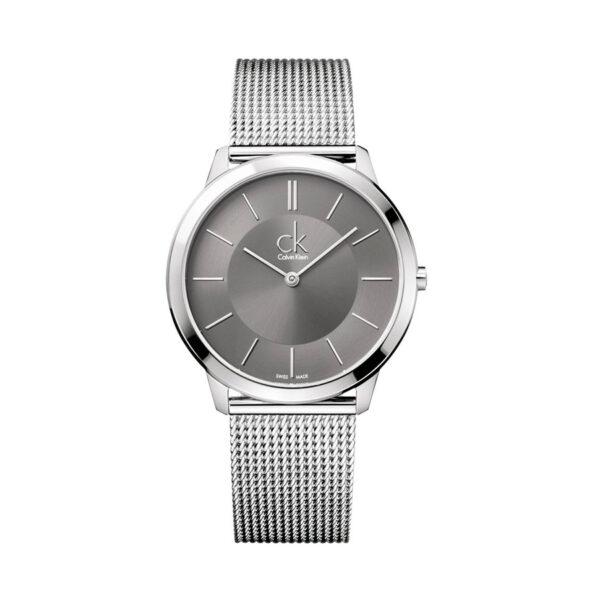 Reloj Calvin Klein Minimal Hombre K3M21124 Acero con esfera gris y correa malla milanesa gris