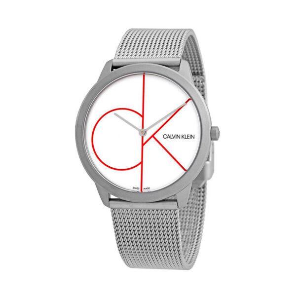 Reloj Calvin Klein Minimal Hombre K3M51152 Acero esfera blanca logotipo color y correa malla milanesa