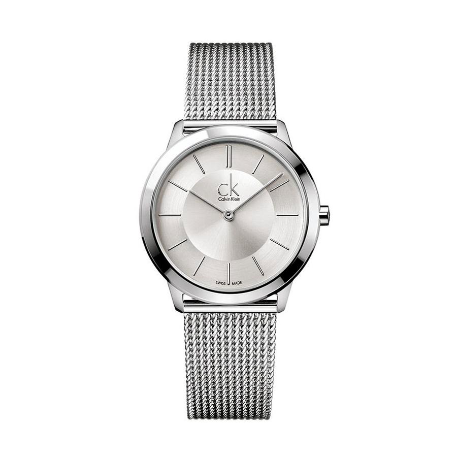 Reloj Calvin Klein Minimal Mujer K3M22126 Acero esfera plata y correa malla milanesa plata