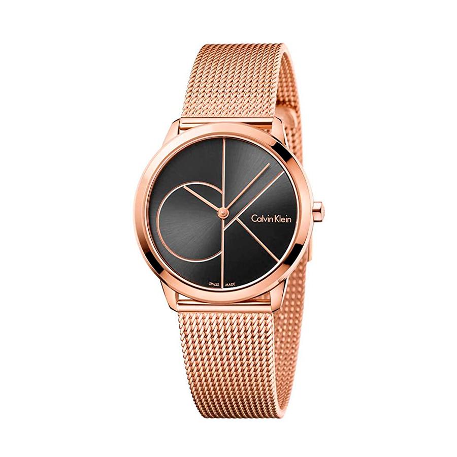 Reloj Calvin Klein Minimal Mujer K3M22621 Acero rosado esfera negra y correa malla milanesa rosada