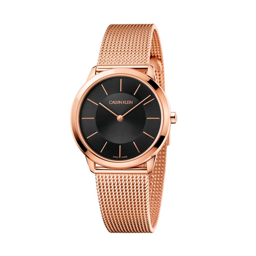 Reloj Calvin Klein Minimal Mujer K3M2262Y Acero rosado esfera negra y correa malla milanesa rosada