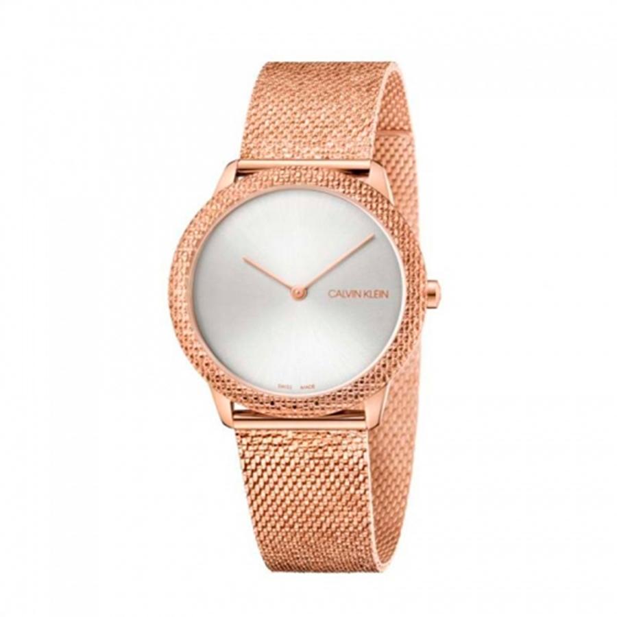 Reloj Calvin Klein Minimal Mujer K3M22U26 Acero rosado con esfera blanca y correa malla milanesa rosada