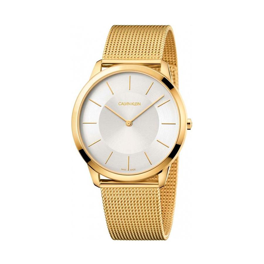 Reloj Calvin Klein Minimal Mujer K3M2T526 Acero dorado esfera blanca y correa malla milanesa dorado