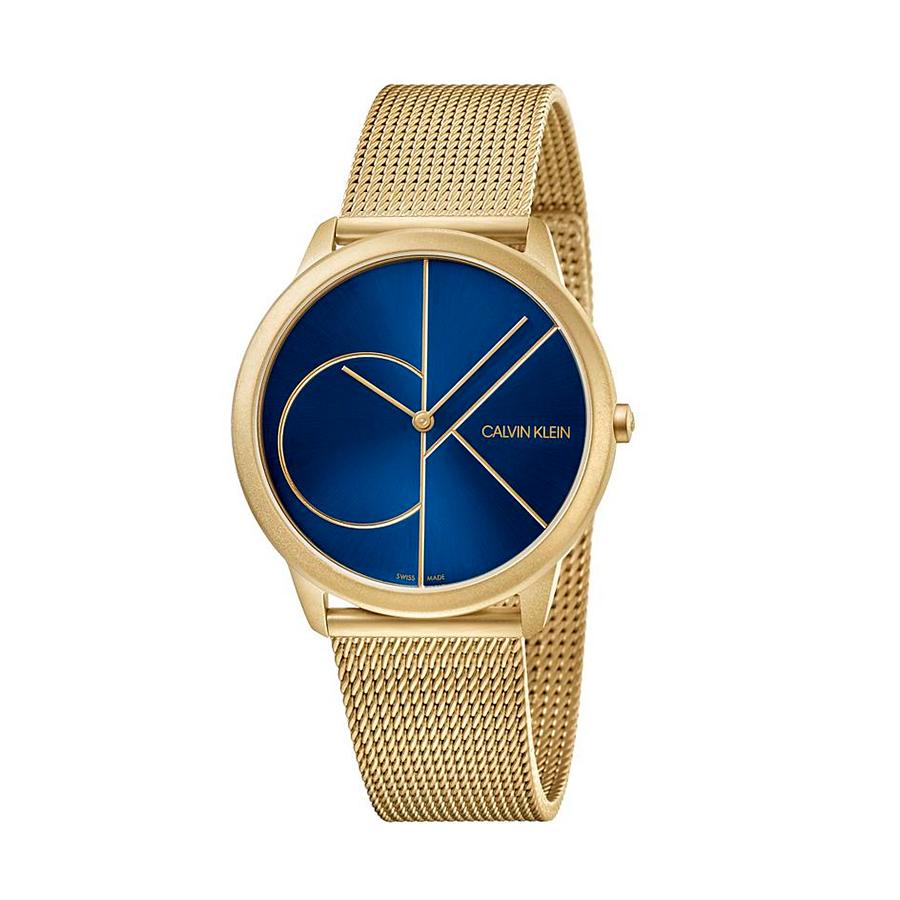 Reloj Calvin Klein Minimal Mujer K3M5255N Acero dorado esfera azul y correa malla milanesa