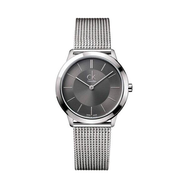 Reloj Calvin Klein Minimal Unisex K3M22124 Acero esfera gris y correa malla milanesa