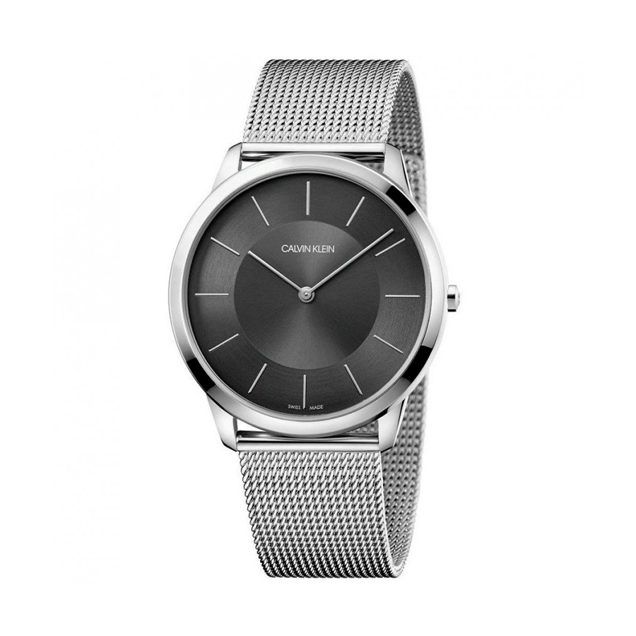 Reloj Calvin Klein Minimal Unisex K3M2T124 Acero con esfera gris y correa malla milanesa plata
