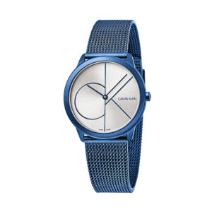 Reloj Calvin Klein Minimal Unisex K3M52T56 Acero azul esfera plata y correa malla milanesa azul