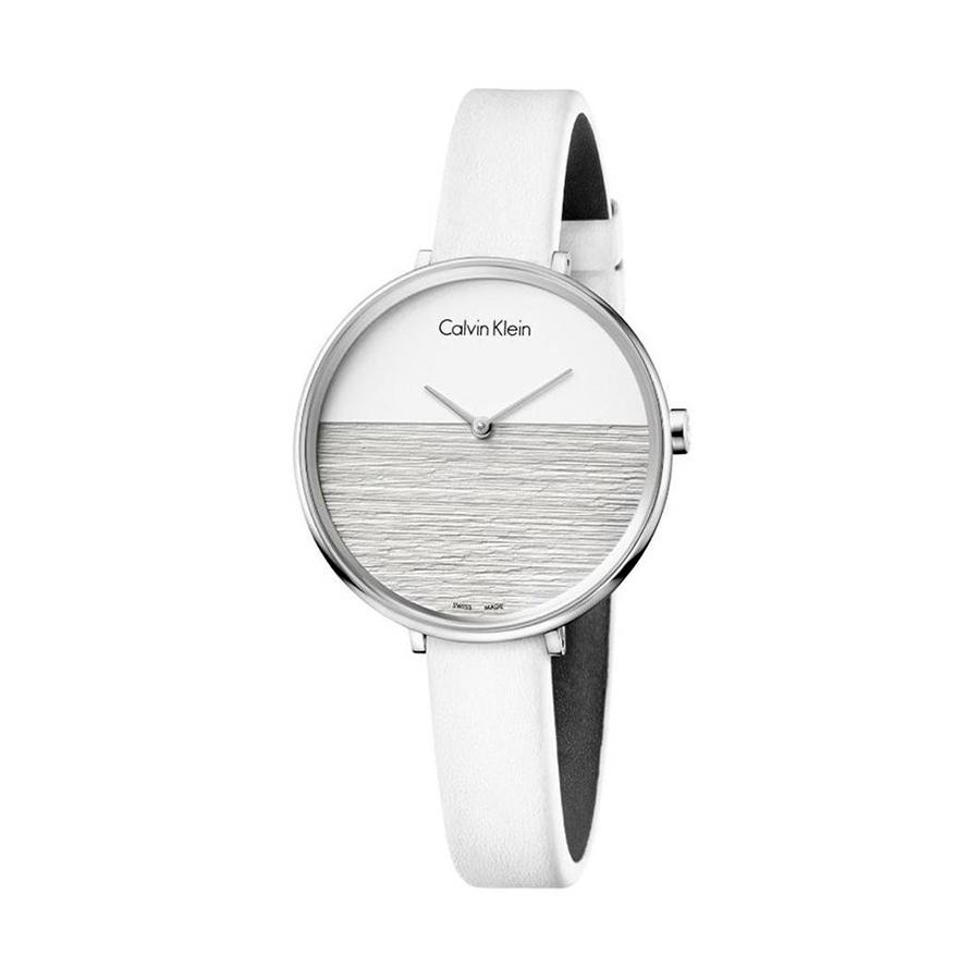 Reloj Calvin Klein Rise Mujer K7A231L6 Acero con esfera multicolor blanco y gris con correa de piel blanco