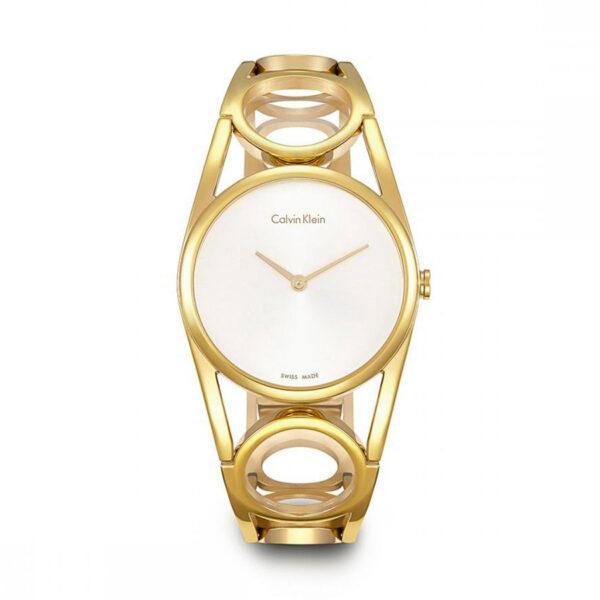 Reloj Calvin Klein Round Mujer K5U2M546 Acero dorado con esfera blanca y brazalete semi rígido