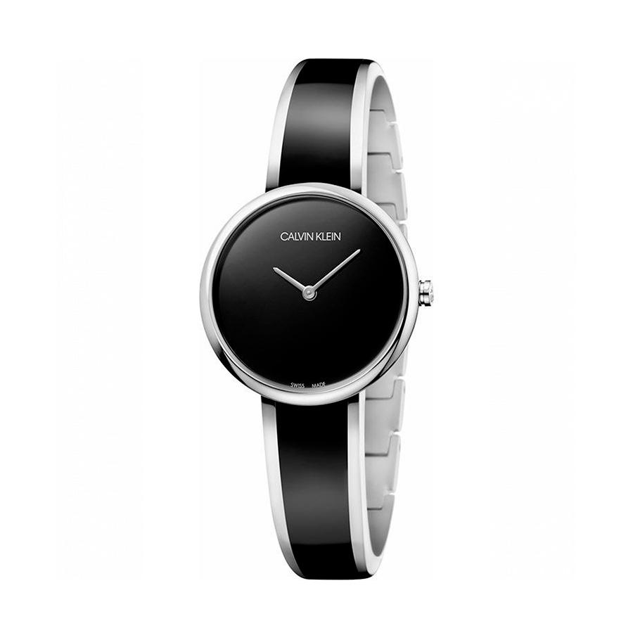 Reloj Calvin Klein Seduce Mujer K4E2N111 Acero esfera negra con brazalete semi rígido bicolor plata y negro