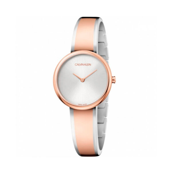 Reloj Calvin Klein Seduce Mujer K4E2N61X Acero bicolor rosado y plata con dos agujas y brazalete semi rígido