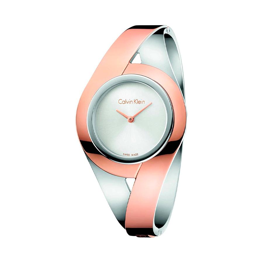 Reloj Calvin Klein Sensual Mujer K8E2M1Z6 Acero bicolor rosado y plata con esfera plata y brazalete rígido