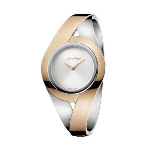 Reloj Calvin Klein Sensual Mujer K8E2S1Z6 Acero esfera plata con brazalete rígido bicolor rosado y plata