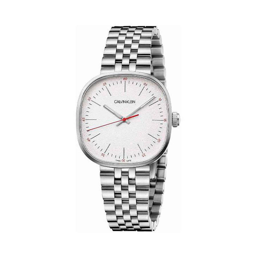 Reloj Calvin Klein Squarely Mujer K9Q12136 Acero esfera blanca detalles rojos y agujas neón correa acero