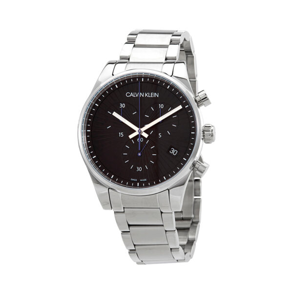Reloj Calvin Klein Steadfast Hombre K8S27141 Acero esfera negra cronógrafo agujas neón y calendario