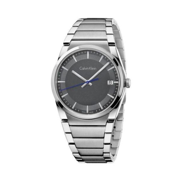 Reloj Calvin Klein Step Hombre K6K31143 Acero con esfera negra detalle aguja azul y calendario con correa acero