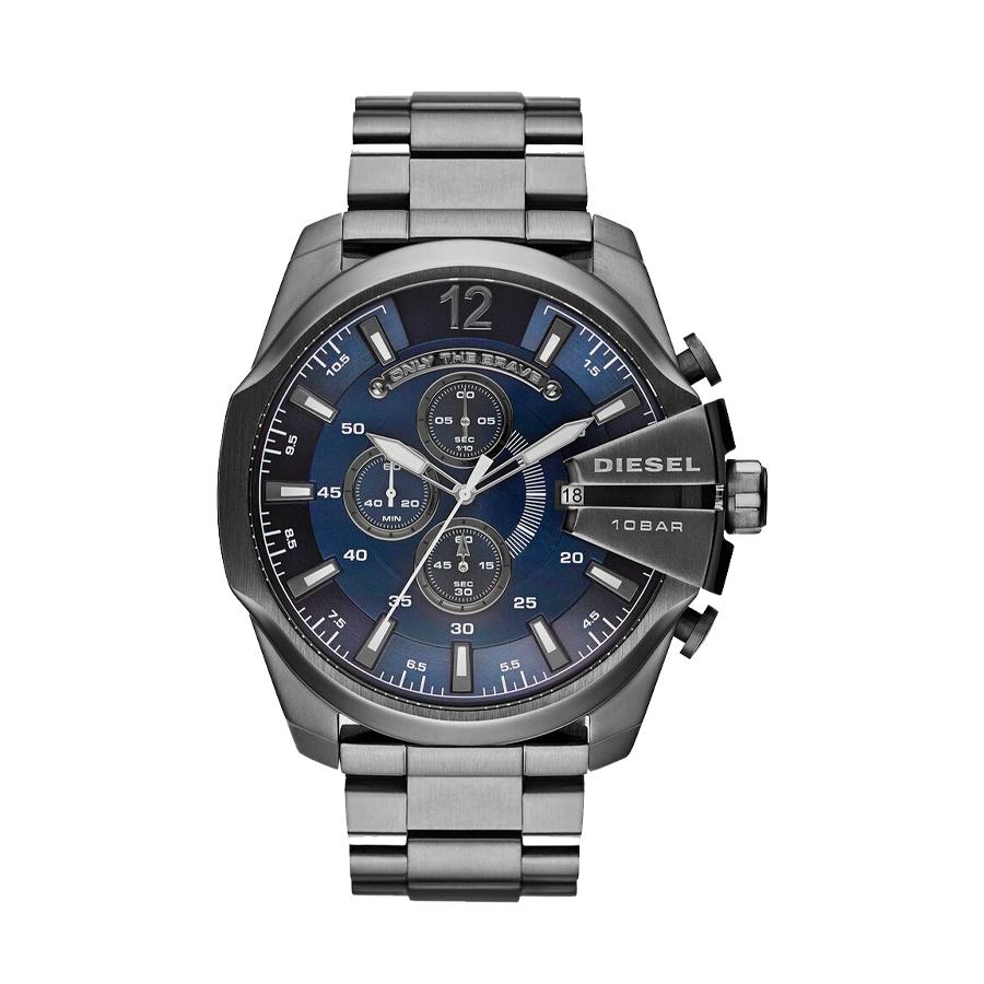 Reloj Diesel Mega Chief Hombre DZ4329 Acero negro esfera azul crono