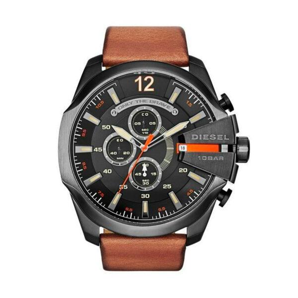 Reloj Diesel Mega Chief Hombre DZ4343 Acero negro correa marrón