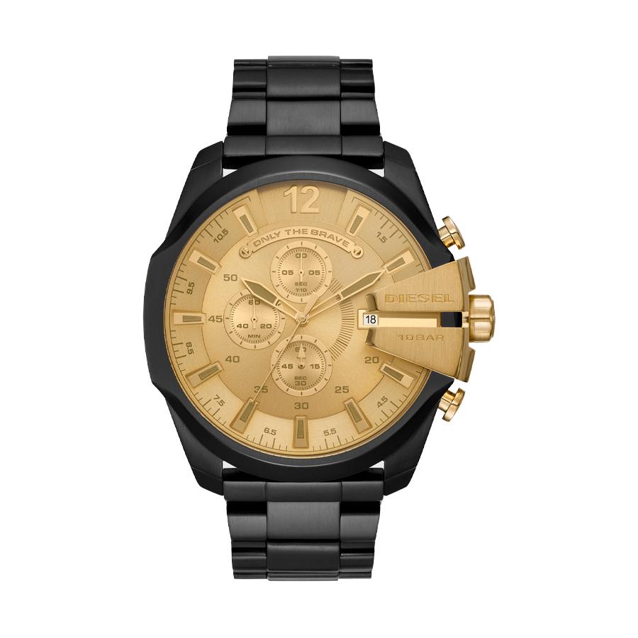 Reloj Diesel Mega Chief Hombre DZ4485 Acero negro esfera dorada crono
