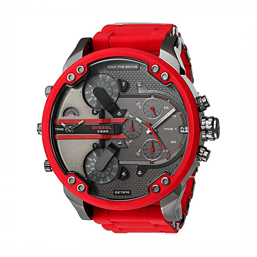 Reloj Diesel Mr. Daddy 2.0 Hombre DZ7370 Acero silcona roja crono