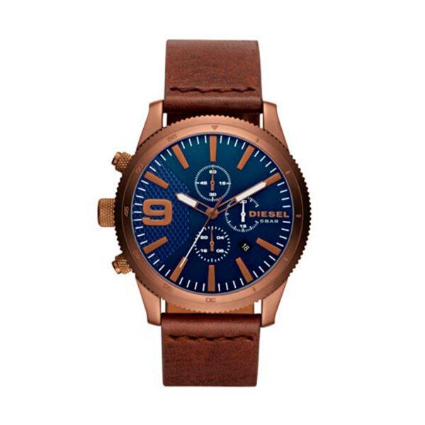 Reloj Diesel Rasp Hombre DZ4455 Cobrizo esfera azul correa marron