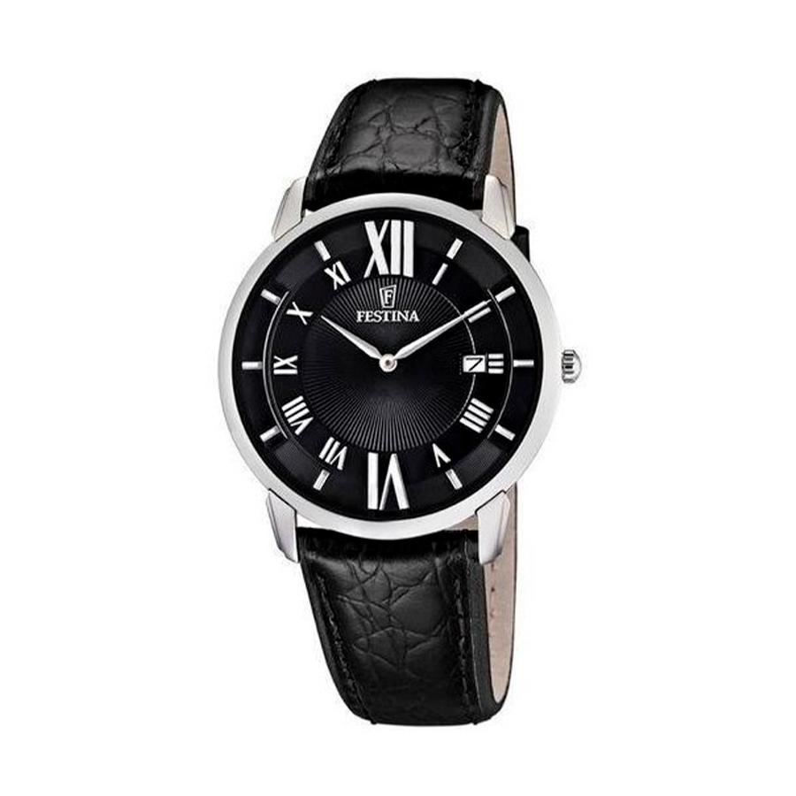 Reloj Festina Classic Hombre F6813-2 Acero con esfera negra índices romanos y correa piel negra
