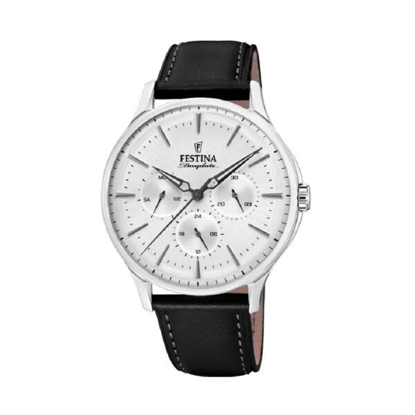 Reloj Festina Daydate Hombre F16991-2 Acero esfera blanca y correa piel negra