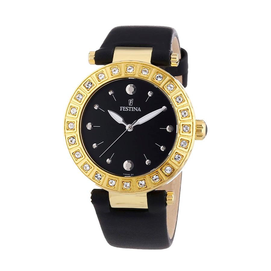 Reloj Festina Dream Mujer F16646-4 Acero dorado y cerámica negra con esfera negra y detalles dorados