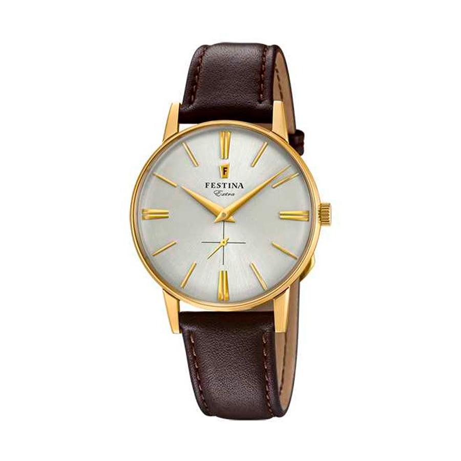 Reloj Festina Extra Hombre F20249-1 Acero dorado esfera plata y correa piel marrón