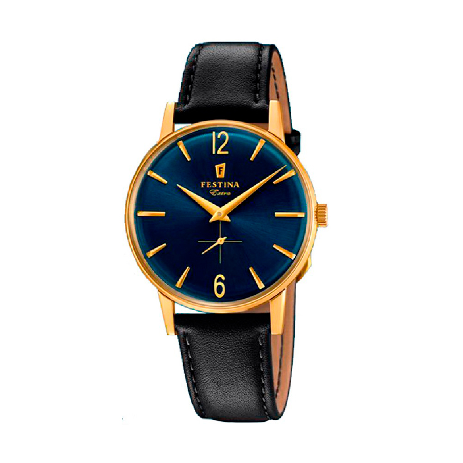 Reloj Festina Extra Hombre F20249-4 Acero dorado esfera azul y correa piel negra