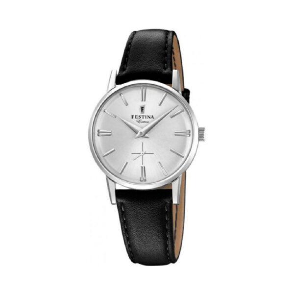 Reloj Festina Extra Hombre F20254-1 Acero esfera plata y correa piel negra