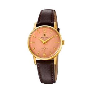 Reloj Festina Extra Hombre F20255-2 Acero dorado con esfera rosa y correa piel marrón