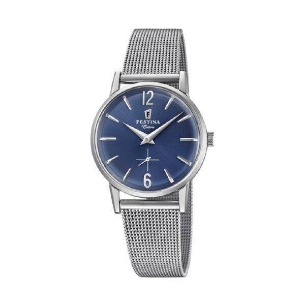 Reloj Festina Extra Hombre F20258-3 Acero con esfera azul y correa malla milanesa acero
