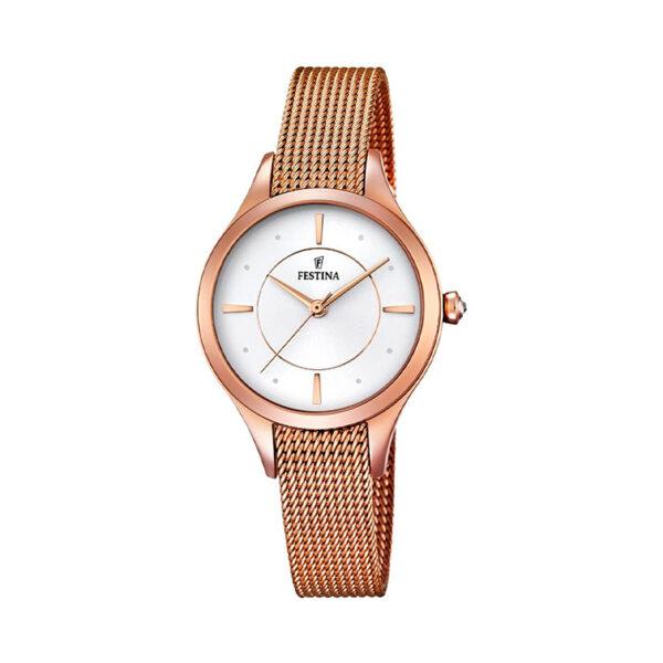 Reloj Festina Mademoiselle Mujer F16960-1 Acero rosado esfera blanca y malla milanesa rosada